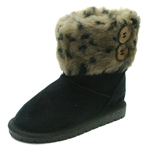 SB121 Studio BIMBI Girls Mid Calf Pull On Baby Boots in Black Faux Suede Taglia 25
