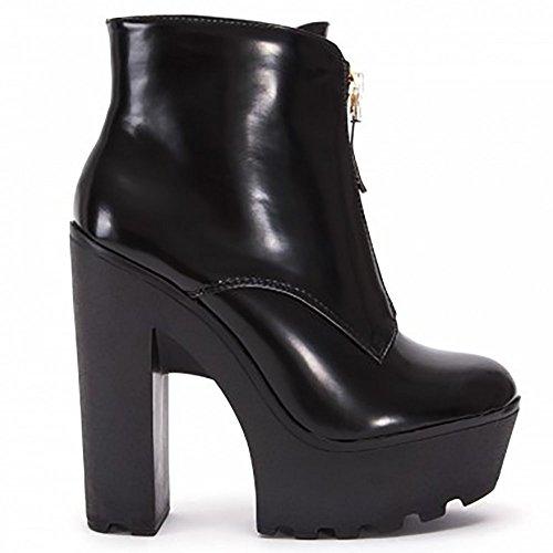Damen Damen Mode Schwarz Pu Kunstleder Zip Chelsea Block Chunky Plattformen Knöchel Stiefel Pumps Schuhe 3-8 UK7/euro40 (Chunky Leder-plattformen)