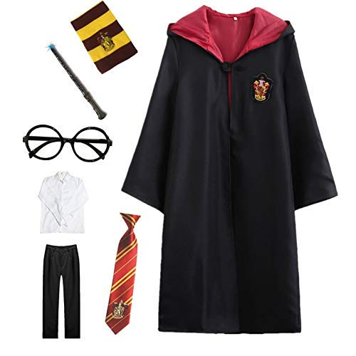 Slytherin Kostüm Baby - Kosplay Harry Potter Kostüm Umhang Kinder Erwachsene Cosplay Gryffindor Slytherin Ravenclaw Hufflepuff Zauberstab Krawatte Schal Brille Karneval Verkleidung Fasching Halloween