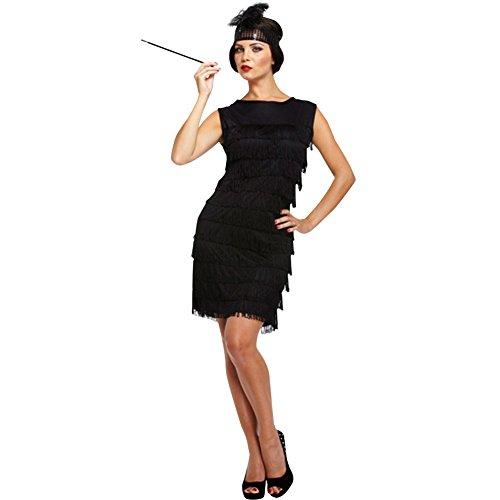 FeelinGirl Damen Kleid Kostüm Gothic Hexe Halloween Lang Outfit XL Schwarz