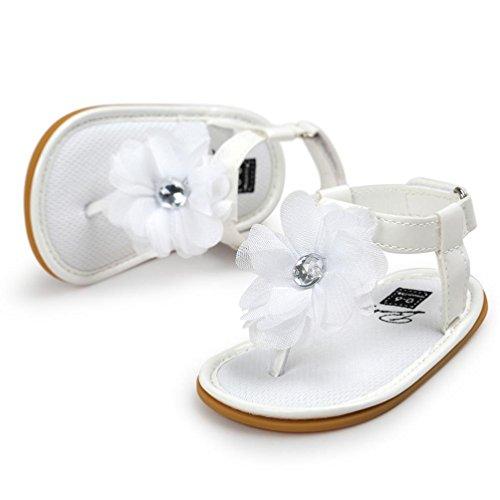 Sandales Pour Bébé Filles, Bestop Perle de Fleur Sandales Enfant Princesse Chaussures 0-18 Mois Blanc