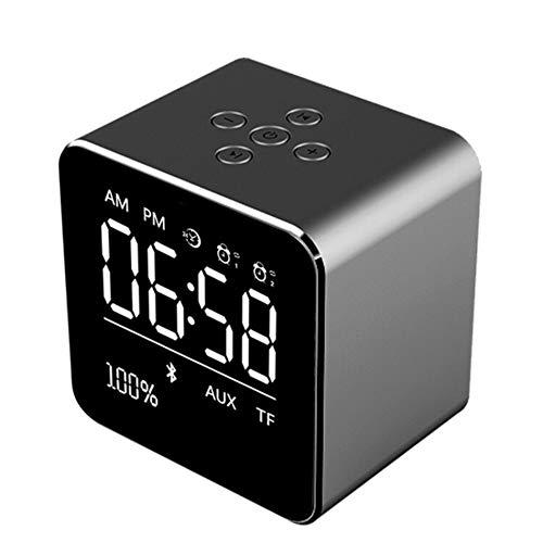 HDLWIS Drahtlose Alarmuhr, LED-Alarmuhr, Radio-Alarm-Uhr mit FM 10 Preset und USB Ladenalarm-Uhr, Schlaf-Timer, 3 Dimmer,Black Wirless System