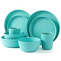LEKOCH 10 Pieces Blue Bio Bamboo Dinnerware Set for 2
