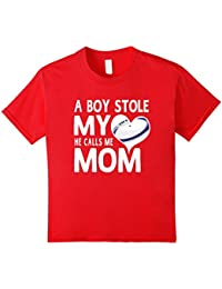 A Boy Stole My Heart He Calls Me Mom Rugby Moms Gift T-Shirt Kinder, Größe 140 Rot