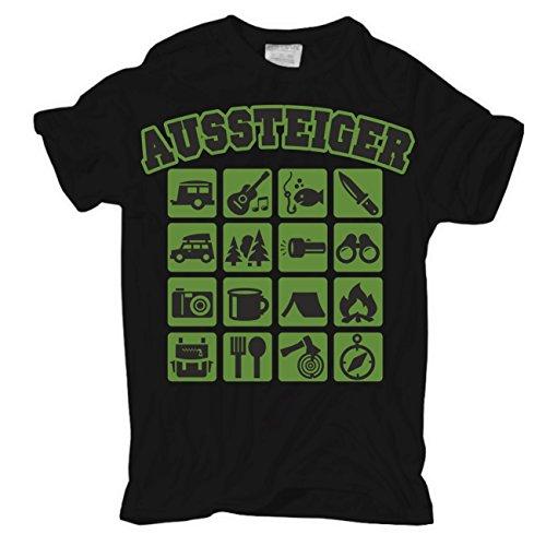Männer und Herren T-Shirt Aussteiger Körperbetont schwarz