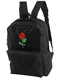 e90f5229bf72d Schulrucksack Schultasche Stickerei Rucksack Tasche Rose Design Vintage  Büchertasche Reisetasche Unisex Rucksäcke für Jugendliche Schwarz