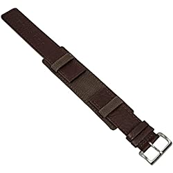 Replacement Watch Strap Leather/Textile Band 22mm Mat Brown Matches S. Oliver 1193/LQ