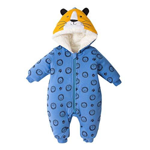 Cuteelf Kinder Jacke Langarm Cartoon Tiger Print Ohr Kapuze verdicken Baumwolljacke warme Baumwolljacke Winterjacke Reißverschluss Dicke schneesichere Kapuzenjacke Overall