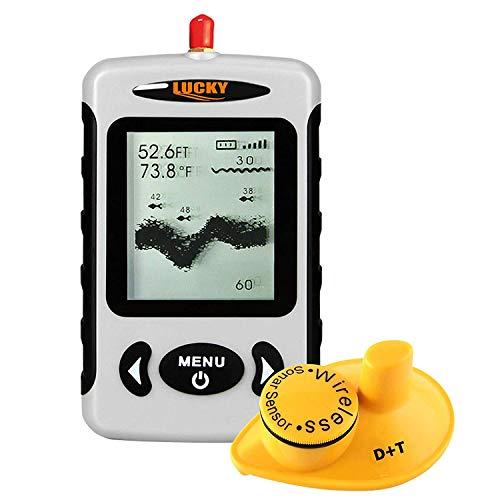 Lucky FFW-718 Portable Wireless Depth Finder, Angeln Sonar Sensor Transducer mit längerer Reichweite Antenne, Fischfinder Alarm mit LCD-Display
