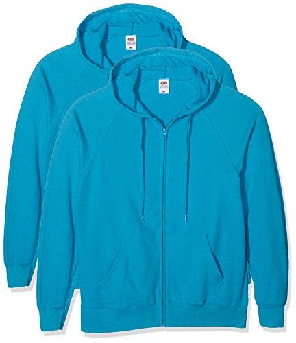 Fruit of the Loom Lightweight Hooded Jacket, Felpa Uomo Blu (Azure Blue)