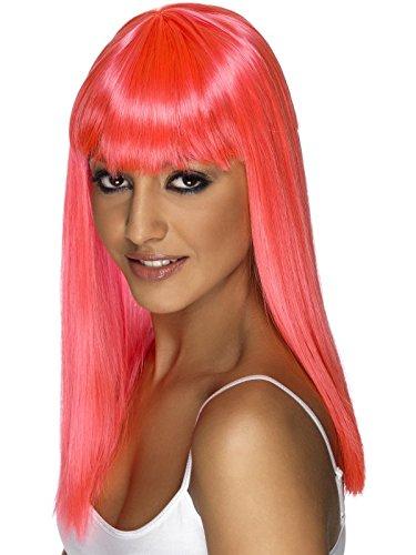 Pinke Perücke lang neon pink Glamourama Langhaar (Pink Perücke Neon Lange)