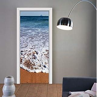 GXFCFF Tür-Aufkleber-Wandtür Surround-Blase-Free High Gloss Architectural Geschnitzte Tür Befestigt Peel and Stick Einfache Reinigung 3D-Strand-Kunst