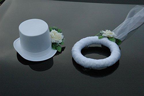 Autoschmuck SCHLEIER UND HUT Auto Schmuck Braut Paar Rose Deko Dekoration Hochzeit Car Auto Wedding Deko PKW (Ecru/Weiß)