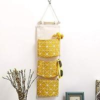 Schlafzimmer Wohnzimmer B/üro,7 Taschen Design Gelb Acogedor H/ängende Tasche Baumwolle Leinen Holz H/ängeorganizer Stoff Wandorganizer Aufbewahrung Tasche