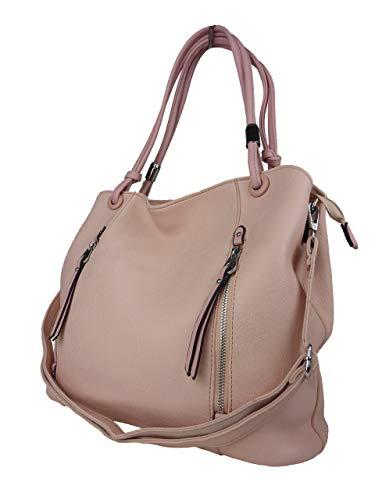 BELLA BELLY Damen Handtasche Naomi - Pastell Farben Auswahl - Leder Optik - Shopping Bag 4177-BB (pink rosé) -