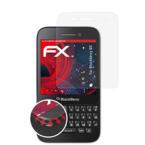 atFolix Schutzfolie passend für BlackBerry Q5 Folie, entspiegelnde & Flexible FX Bildschirmschutzfolie (3X)