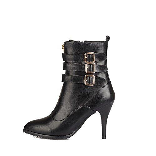 VogueZone009 Damen Niedriger Absatz Niedrig-Spitze Reißverschluss Stiefel, Aprikosen Farbe, 34