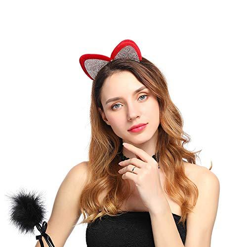 LTSWEET Damen Stirnband Halloween Dekoration Accessoires Mode Strass Mickey Minnie Haarreif Kopfbedeckungen Haarschmuck Karneval Cosplay Kostüm Zubehör Fotografie - Kostüm Red Minnie