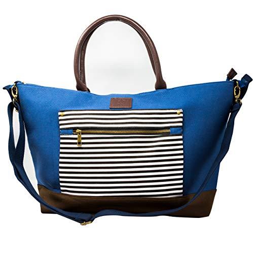 Emma & Noah Große Baby Wickeltasche, 12 Fächer, u.a. inkl. Wickelunterlage, Kinderwagen Befestigung, Feuchtfach, Gläschenhalter, Farbe Tasche: Blau