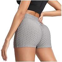 ZHMEI Pantalones Cortos Casuales   Pantalón Corto de Yoga para Mujer, Cintura Alta, Entrenamiento de Control de Abdomen Corto, Pantalones de Yoga para Correr S - XL