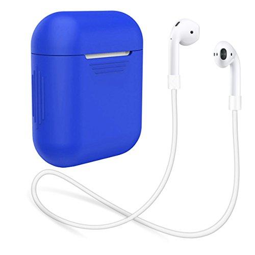 AirPods Hülle aus Silikon by innoGadgets   Inklusive Strap für AirPods   Zubehör, Schutzhülle   Griffiges und Robustes Silikon   Leicht zu Reinigen   Perfekter Rundum-Schutz + Gratis E-Book - Blau