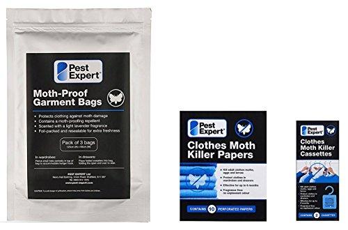 Kit 1 de protection contre les mites de vêtements dans les garde-robes (garde-robe doubles / grand tiroirs) de Pest Expert. Produit de qualité professionnelle.
