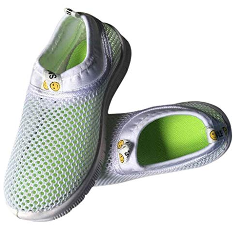 Scarpe Sportive Ragazzi Scarpe da Corsa Ginnastica Respirabile Mesh Running Sneakers Trail Trekking Fitness Casual - Scarpe A Rete per Bambini Unisex(21,Bianca)