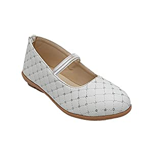 D'chica Fancy Synthetic Patent Chic Threadwork Ballerinas for Girls