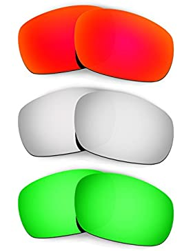 Hkuco Mens Replacement Lenses For Oakley Racing Jacket Red/Titanium/Emerald Green Sunglasses
