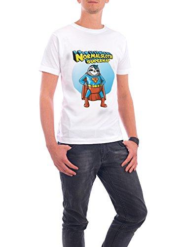 """Design T-Shirt Männer Continental Cotton """"Normal sloth but super nap"""" - stylisches Shirt Film Comic von NemiMakeit Weiß"""