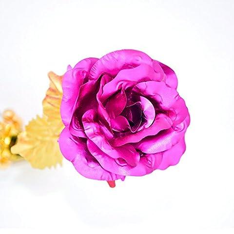 Romantische besonderen Tag Geschenk Langer Stiel 24K Gold Farbe Leaf Rose Flower rosarot