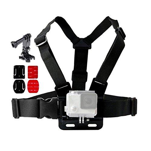 Brustgurt-Halterung Chest Mount Harness Strap für GoPro Hero Action Kamera (2-6, und Hero) Mount verstellbar mit kompletten Zubehör von 3 M Klebepads Aufkleber & 360 Grad Klemme Halterung von IVALLEY Chest Mount Harness