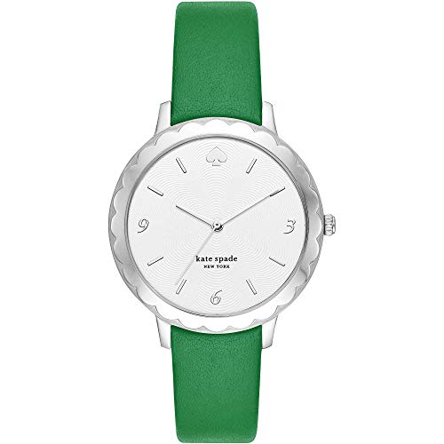 Kate Spade New York - Reloj para Mujer con Correa de Cuero Verde y Acero Inoxidable Plateado KSW1509