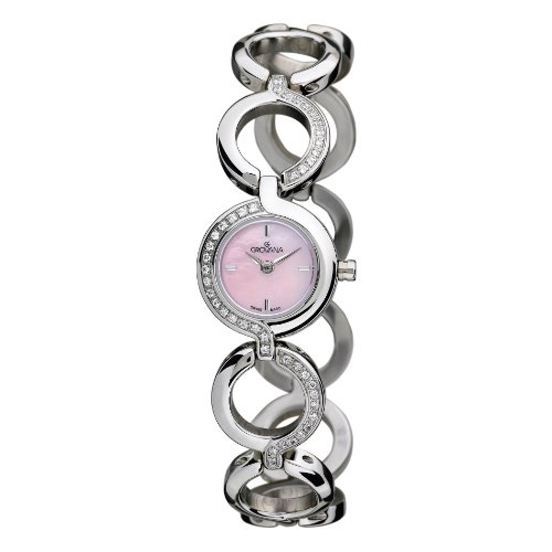 GROVANA 4538.7136 Women's Quartz Swiss Watch with Mother Of Pearl Dial Analogue Display and Silver Stainless Steel Bracelet