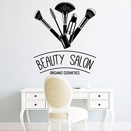 Versace Pinsel (HNXDP Kreative Make-Up Pinsel Salon Wandaufkleber Selbstklebende Vinyl Wasserdichte Wohnzimmer Wandkunst Aufkleber Wandtattoos Aufkleber Wandbild Silber XL 57 cm X 65 cm)