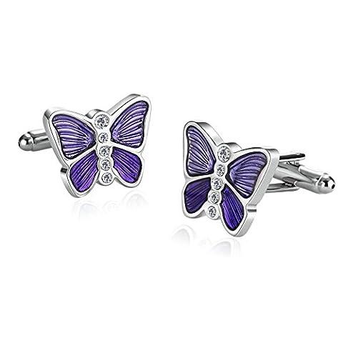 Epinki Edelstahl Hemd Manschettenknöpfe Für Herren Schmetterling Glazing Zirkonia Silber Lila mit Geschenkkarton