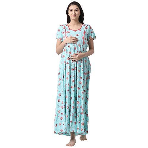 6972612ac6c GOLDSTROMS Minelli Women s Full Length Rayon Fabric Maternity Nursing Feeding  Gown Light Blue