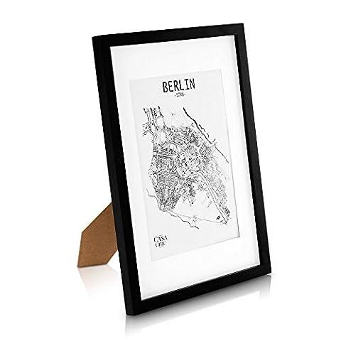 Echtholz Bilderrahmen A3 - Schwarz - DIN A3 Bilderrahmen mit A4 Passepartout und Plexiglasscheibe - Poster-Holzbilderrahmen - Rahmenbreite 2cm!