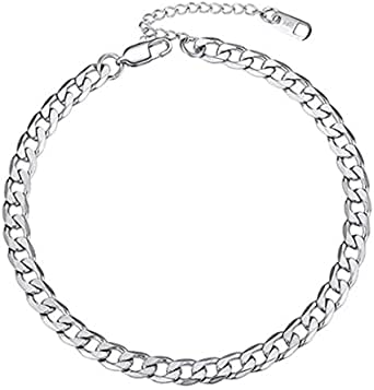 Cavigliera a catena, in acciaio inox, ipoallergenico, per donne, regolabile, 20,5 cm – 22,5 cm