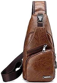 sling shoulder crossbody chest backpack bag for men women girl with USB cable, harging/earphone hole & USB