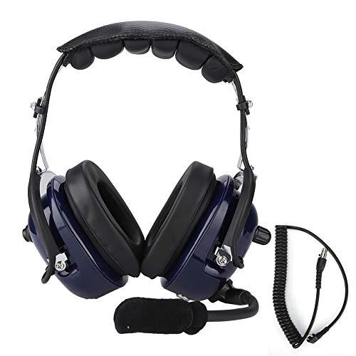 Garsent Aviation Headset, Noise Cancelling-Funk-Headset mit CC-Ken-Spiralkabel 3,5-mm-Funk-Headset für Flugzeugpiloten.