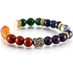 Aatm Reiki Energized Gift Natural Gemstone Beads Buddha Beaded Seven Chakra Beautiful Gemstone Chakra Stretch Bracelet Unisex for Healing