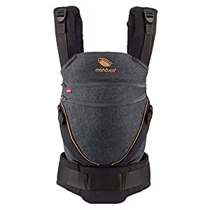 manduca XT Baby Carrier > All in One < Baby Carrier with Adjustable Seat, Newborn to Toddler, 3 Positions (Front, Hip & Back), No Infant Insert Needed, Organic Cotton (XT Cotton/denimblack-Toffee)   9