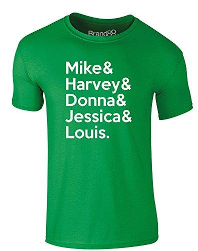 Brand88 - Suits Cast, Erwachsene Gedrucktes T-Shirt Grün/Weiß