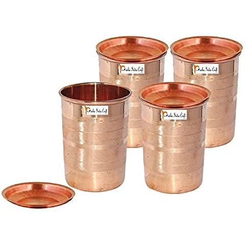 Set di 4 - Prisha India Craft ® cilindretto di rame con coperchio volume 300 ml / 8.4535 OZ I viaggiatori tazza di rame I set di bicchieri di rame , Drinkware set di vetreria - Regalo di natale - Bicchiere Viaggiatore