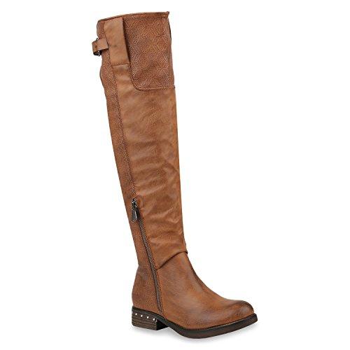 Stiefelparadies Damen Schuhe Reiterstiefel Leicht Gefütterte Stiefel Leder-Optik Boots 152901 Hellbraun Carlton 40 Flandell