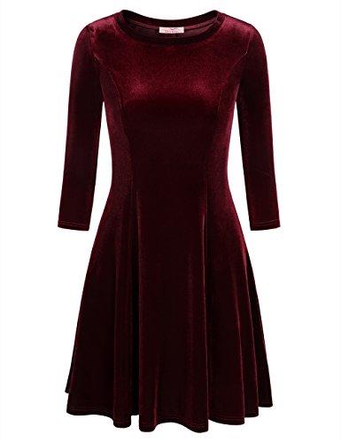 Slivexy Damen Vintage 3/4 Arm Kleider Rundhals Falten A-Linie Samt Kleid Rot (Armee Kleider)