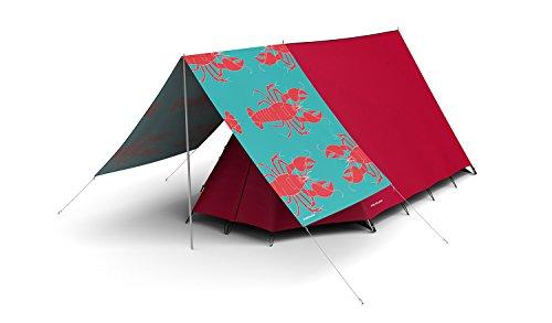 fieldcandy-combo-rock-lobster-red-motif-de-homard-tente-2-3-personnes-avec-taud-de-soleil-rouge