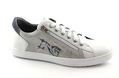 NOIR JARDINS 4102 chaussures homme blanc TIES sneaker sport zip Bianco