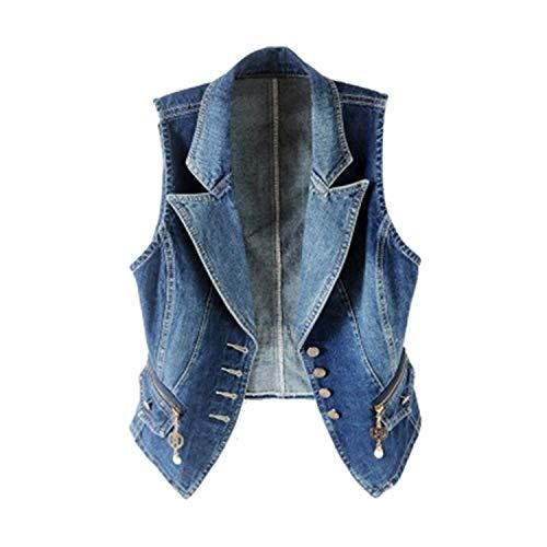 Primavera Senza Maniche Donna Gilet di Jeans Plus Size 3XL Moda Casual Tops Suit Collar Gilet Donna Denim Short Giacche Donna